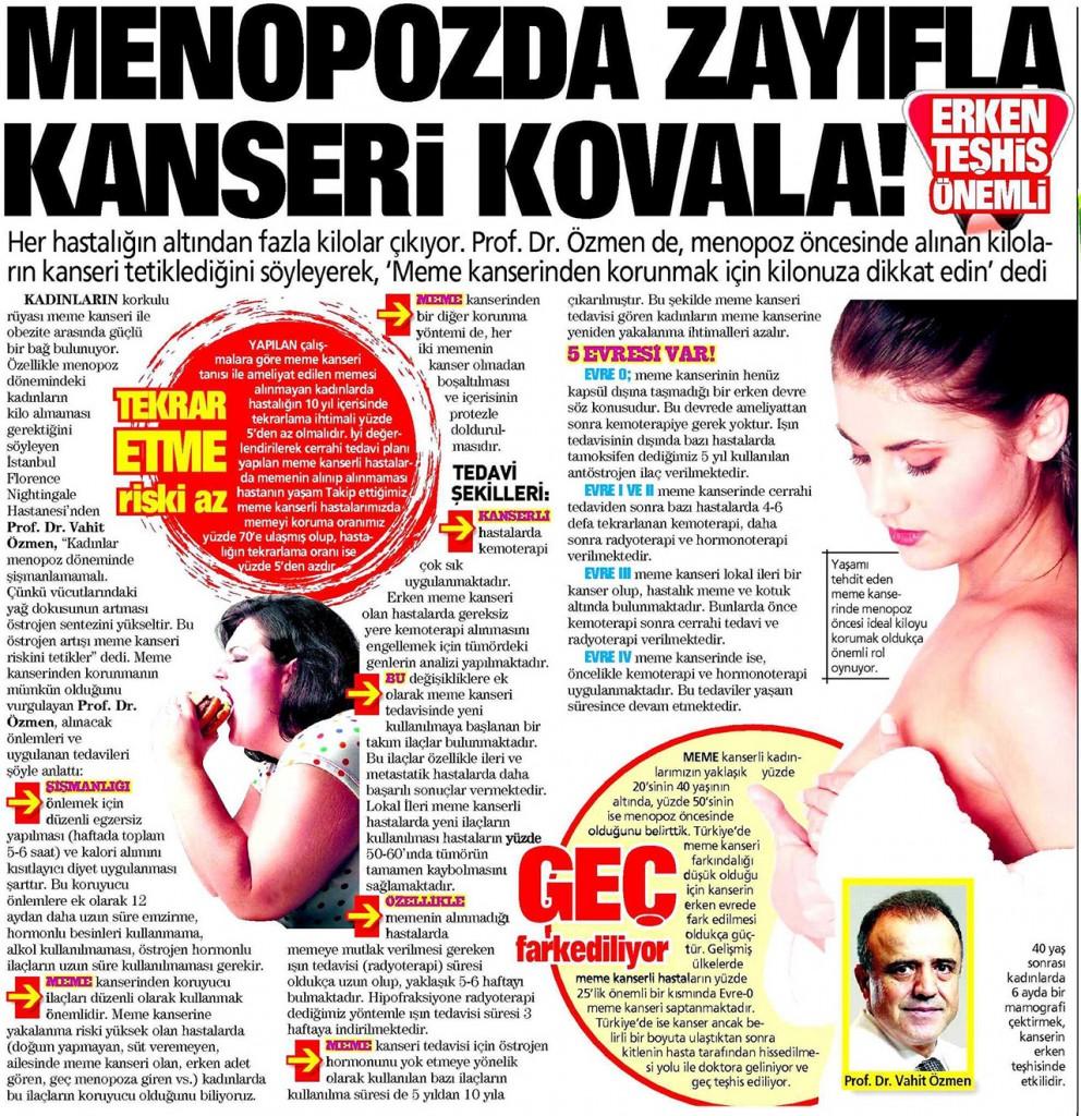 Menopozda zayıfla kanseri kovala